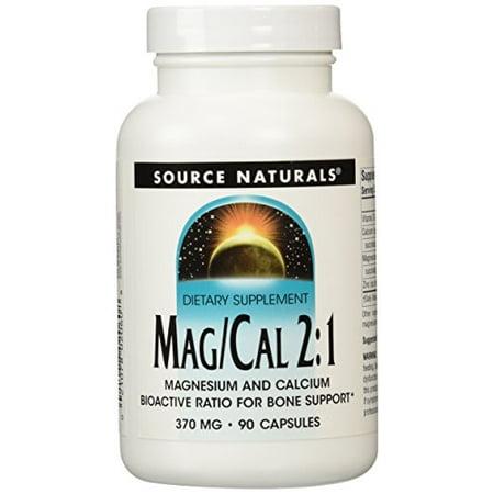 Source Naturals Mag/Cal 2:1 Magnesium and Calcium, Bioactive Ratio for Bone Support, 90 Capsules