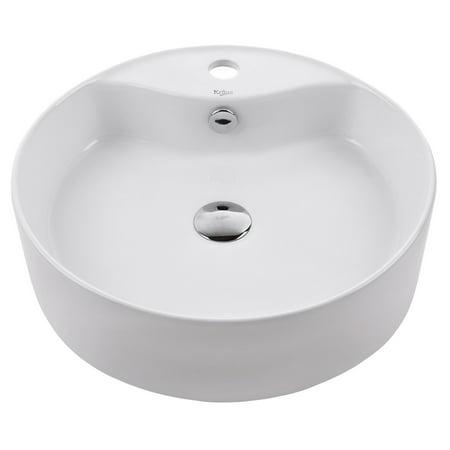 Kraus Round Ceramic Vessel Bathroom Sink With Overflow In White