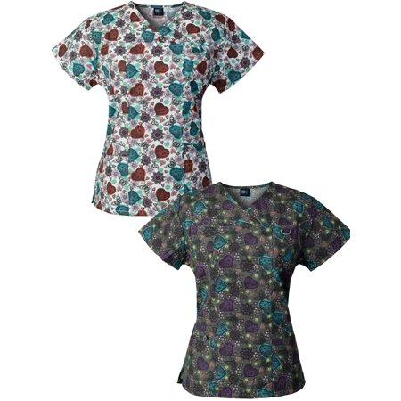 Medgear 2-PACK Womens Printed Scrub Tops with 4 Pockets & ID Loop DOBW-DOCH