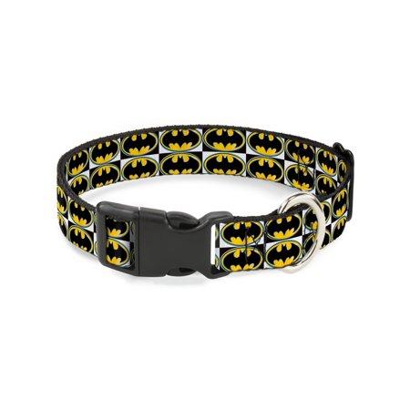 Plastic Clackers (Buckle-Down Batman Shield Checkers Plastic Clip Collar, Narrow)
