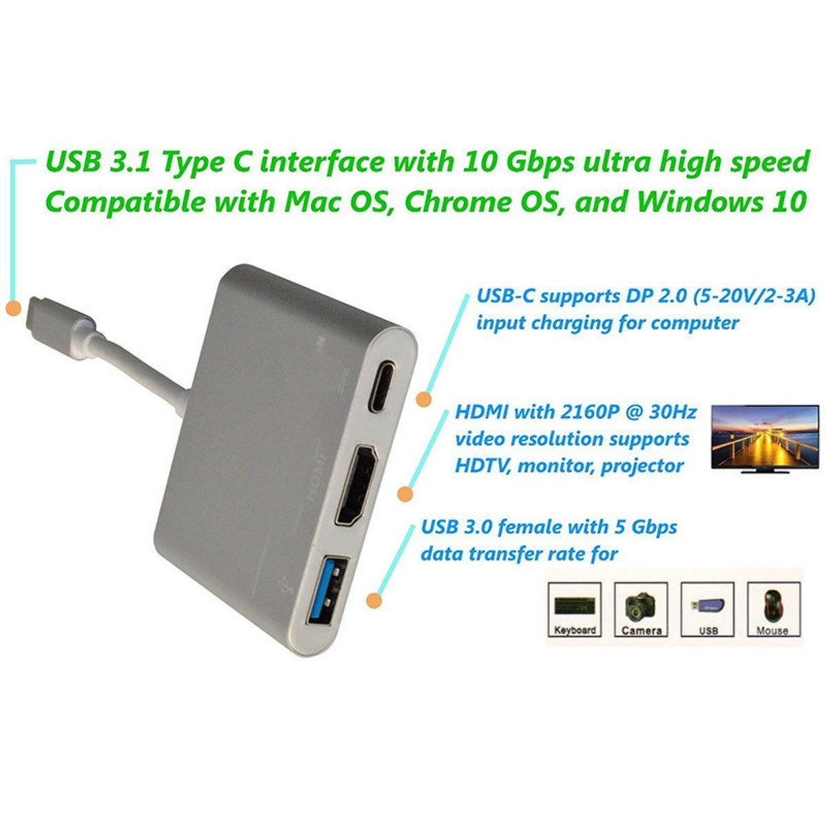 Type C to 4K HDMI USB 3 0 Charging HUB Adapter USB-C 3 1 Converter For  Macbook