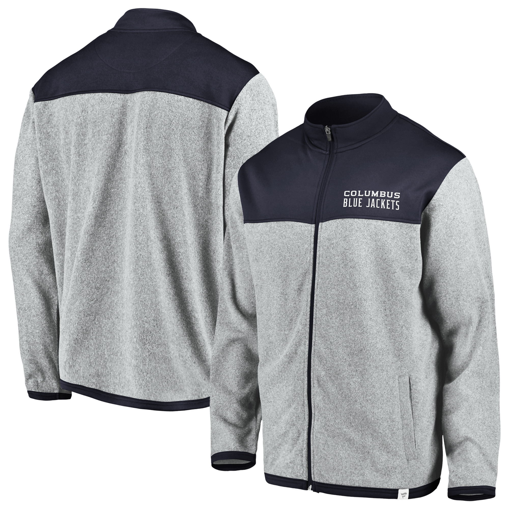 Columbus Blue Jackets Fanatics Branded Polar Full-Zip Jacket - Gray/Navy