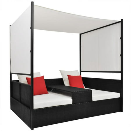Quilt Double Canopy Bed (vidaXL Double Day Bed with Canopy Poly Rattan)