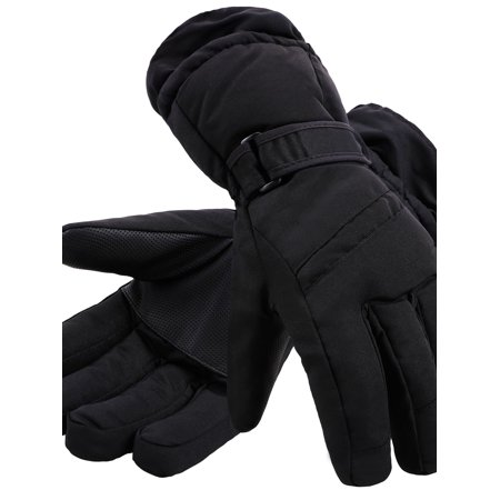 Simplicity Men's 3M Thinsulate Winter Waterproof Ski Gloves,Black Solid,S ()