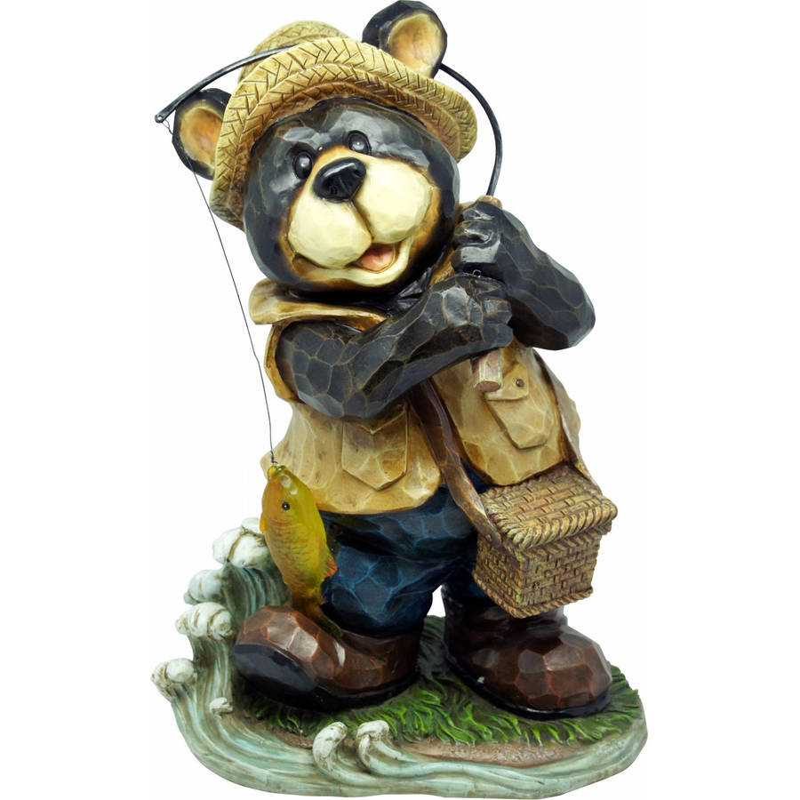 Fishing Bear Garden Statue by Alpine Corp