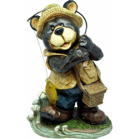Fishing bear garden statue for Fish garden statue