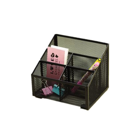 Pro Space 5-slot Desktop Storage Organizer Steel Grid Pencil/Phone/Brush/Makeup/Remote Control Holder, Black Desk Saver Desktop Organizer
