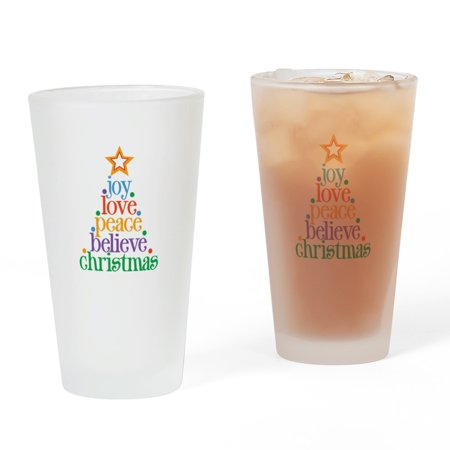 Christmas Drinking Glasses (CafePress - Joy Love Christmas - Pint Glass, Drinking Glass, 16 oz.)