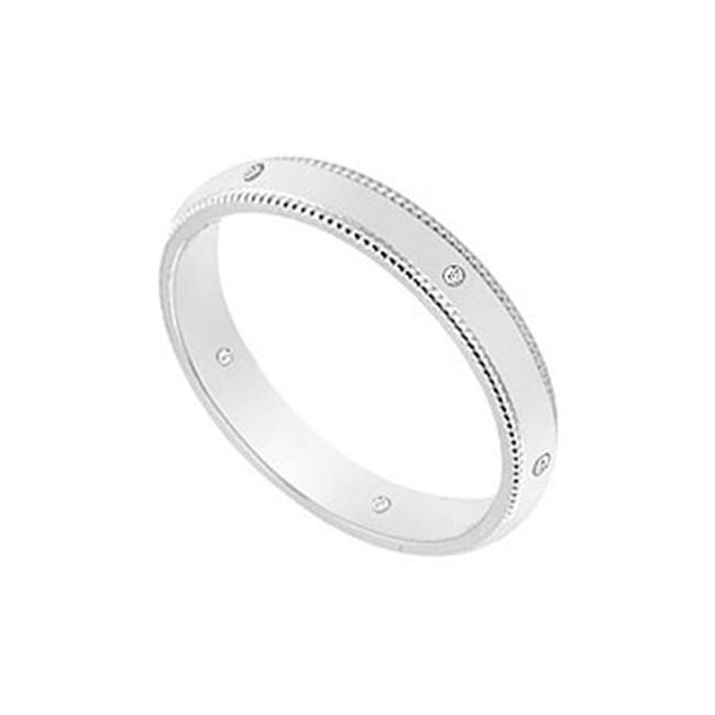FineJewelryVault UBVCM300W14D-120 3MM Comfort Fit Milgrain Wedding Band with Diamonds : 14K White Gold - 0. 05 CT TDW -