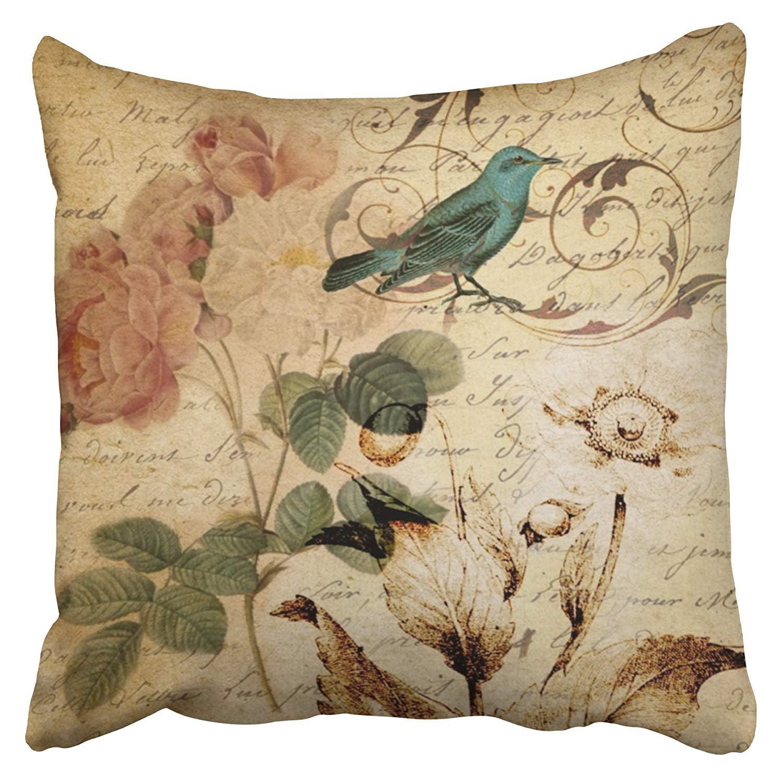 WOPOP Victorian Bird Paris French Botanical Rose Pillowcase Cushion Cover 20x20 inch