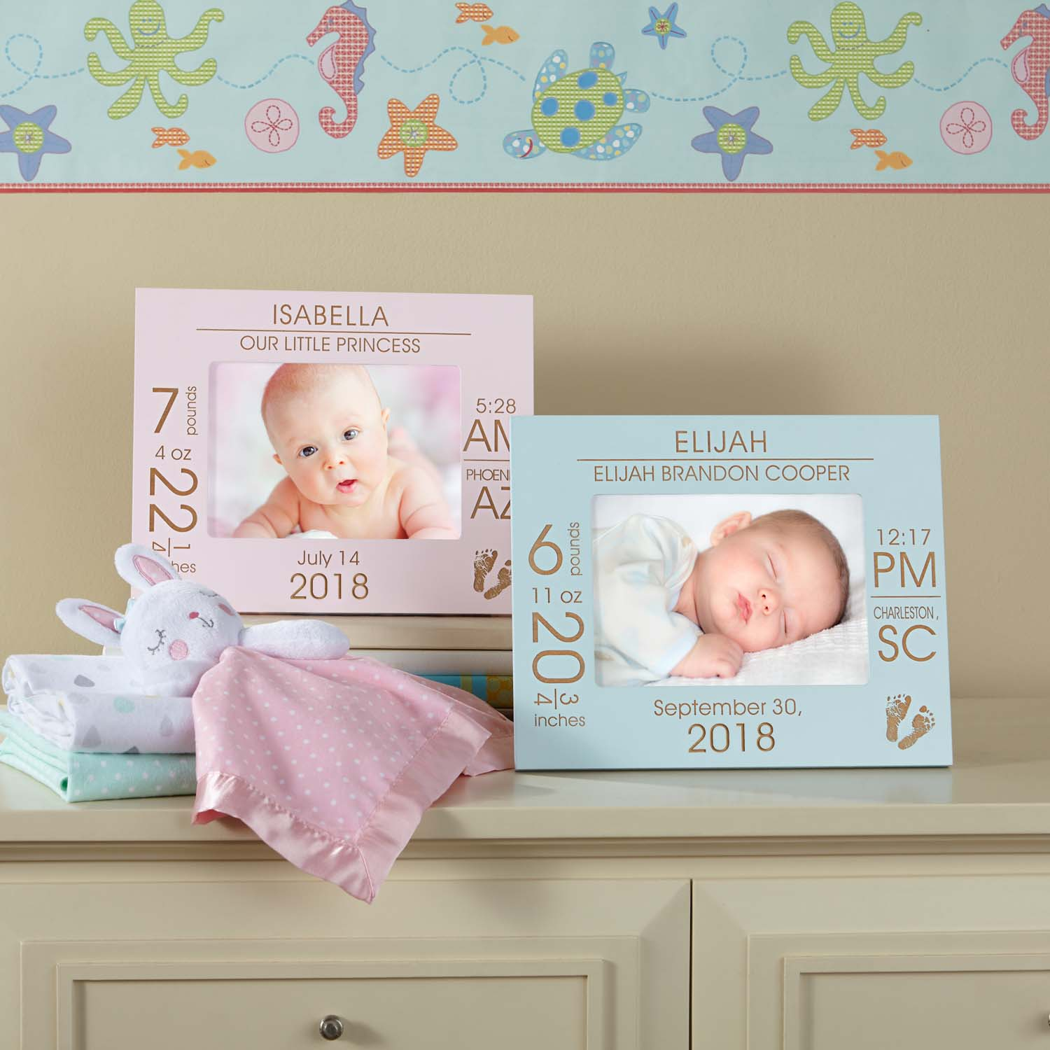 Personalized The Day You Were Born Baby Frame, Available in Blue or Pink