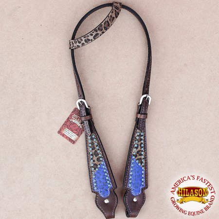 HILASON WESTERN AMERICAN LEATHER HORSE ONE EAR HEADSTALL BLUE LEOPARD CHEETAH