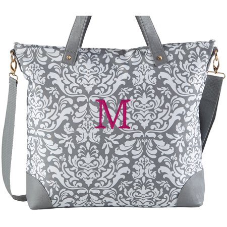 Personalized Gray Damask Embroidered Tote Bag -Available in 2 Fonts
