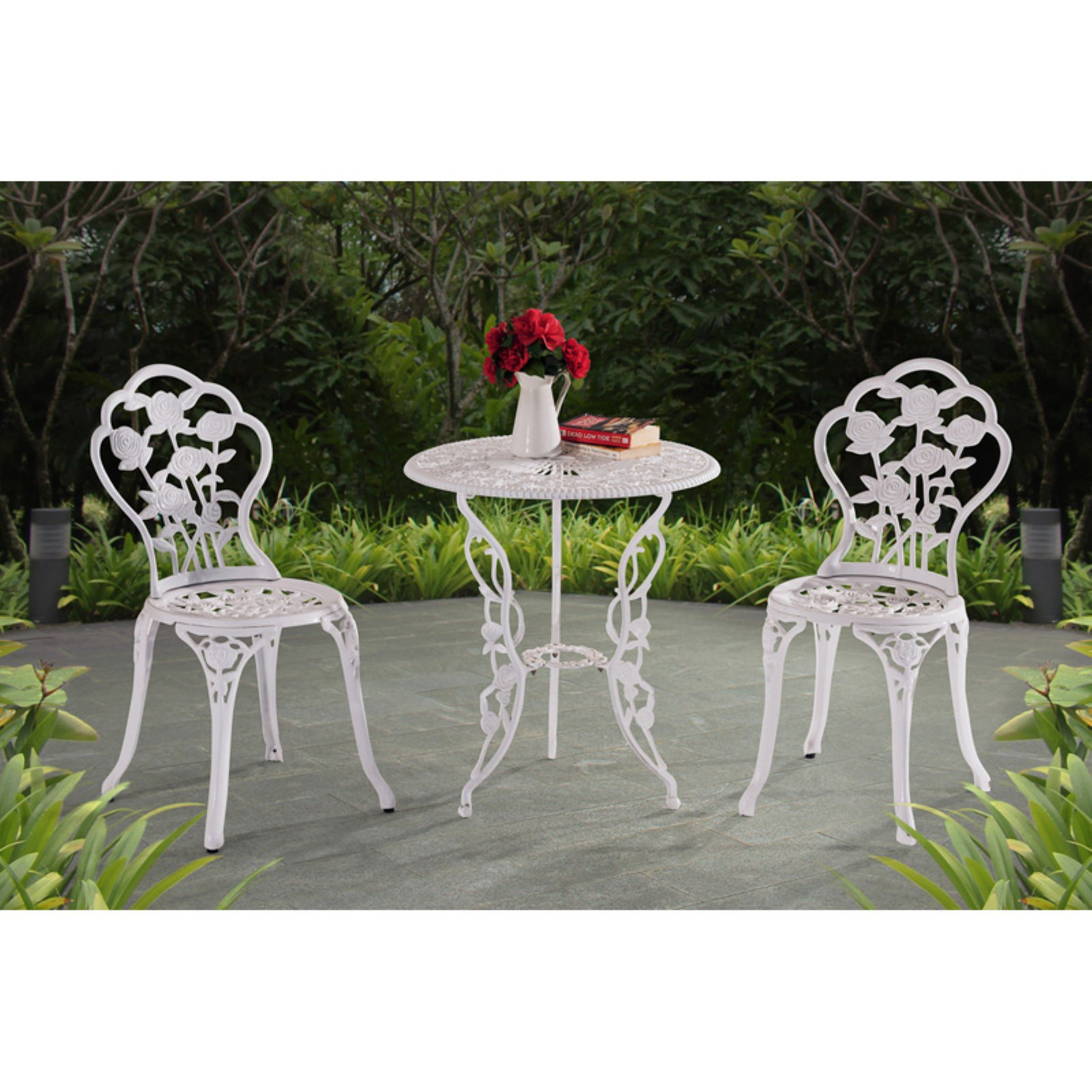Sunjoy Releve Cast Aluminum 3-Piece Outdoor Bistro Set, White