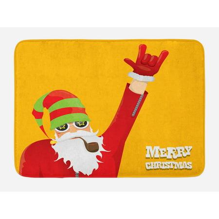Indie Bath Mat, Biker Santa Claus Smoking Pipe with Hand Gesture Party Christmas Cartoon, Non-Slip Plush Mat Bathroom Kitchen Laundry Room Decor, 29.5 X 17.5 Inches, Marigold Lime Green, (Santa Smoking Pipe)