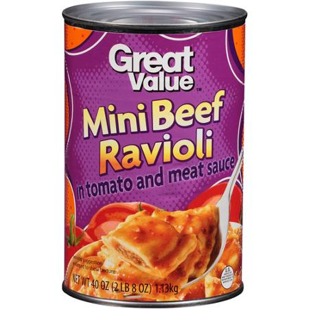 Great Value Mini Beef Ravioli, 40 ounces