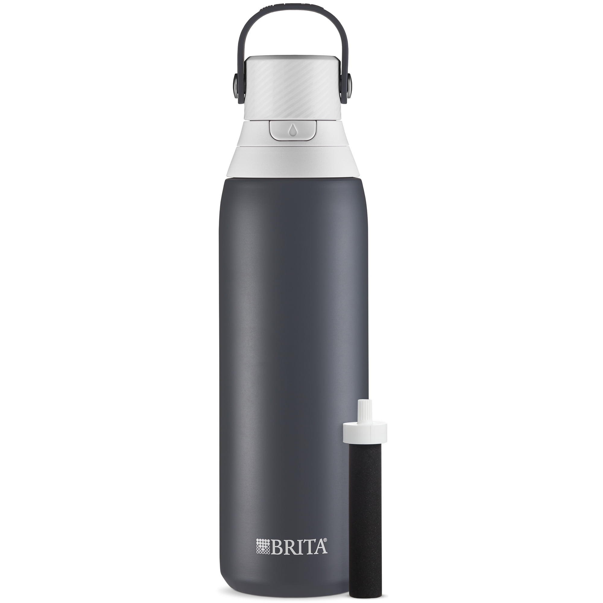 Brita 20oz Premium Double-Wall Stainless Steel Insulated Filtered Water Bottle - Dark Gray