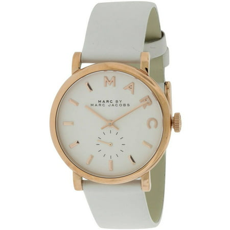 Marc Jacobs Marc Baker Rose Gold Tone White Leather Women S Watch