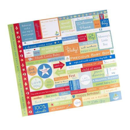 Baby Boy Fresh Verse Card Stock Stickers Assorted Color 10 Inch