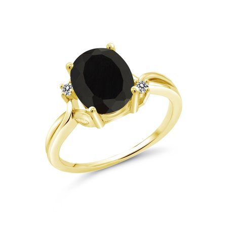 2.53 Ct Oval Black Onyx White Diamond 14K Yellow Gold Ring 14k Gold Oval Onyx Ring