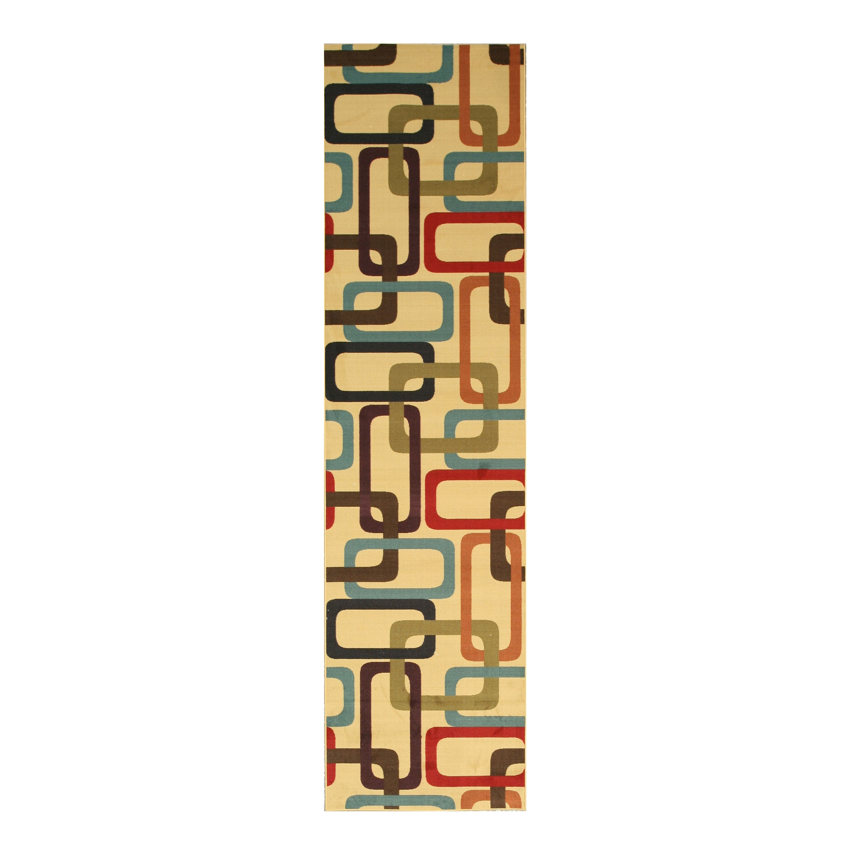 EORC Ivory Transitional Abstract Retro-Chick Rug (2'7 x 9'10)