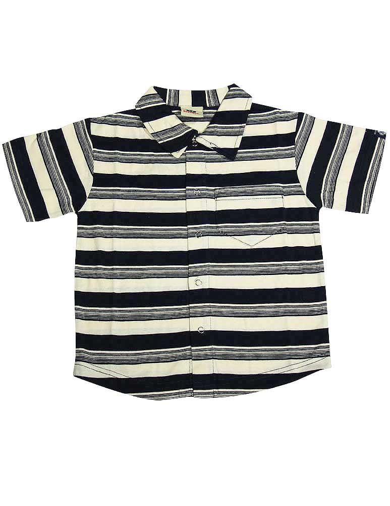 Dogwood Clothing - Little Boys Striped Short Sleeve Shirt BLUE / 10