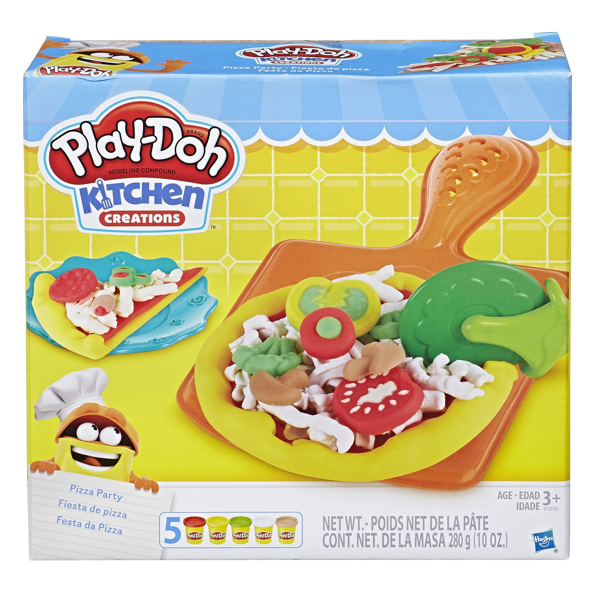 Play Doh Kitchen Creations Pizza Party Food Set With 5 Cans Of Dough