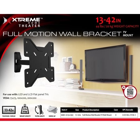 Xtreme XMB10126BLK 13-42 in. Full Motion TV Wall Mount, Black ()