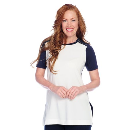 Kate & Mallory Women's Knit Elbow Color Block Hi-Lo Tunic in Navy/White - (Kate Mack Tunic)