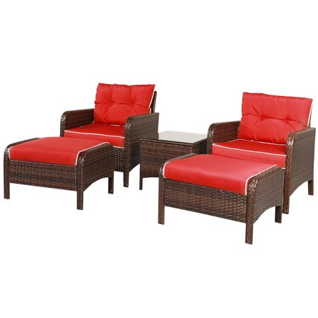 Gymax 5 PC Patio Set Sectional Rattan Wicker Furniture Set Home Outdoor - image 4 of 10