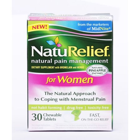 NatuRelief Natural Pain Management for Women Menstrual Pain Chewable Tablets, 30