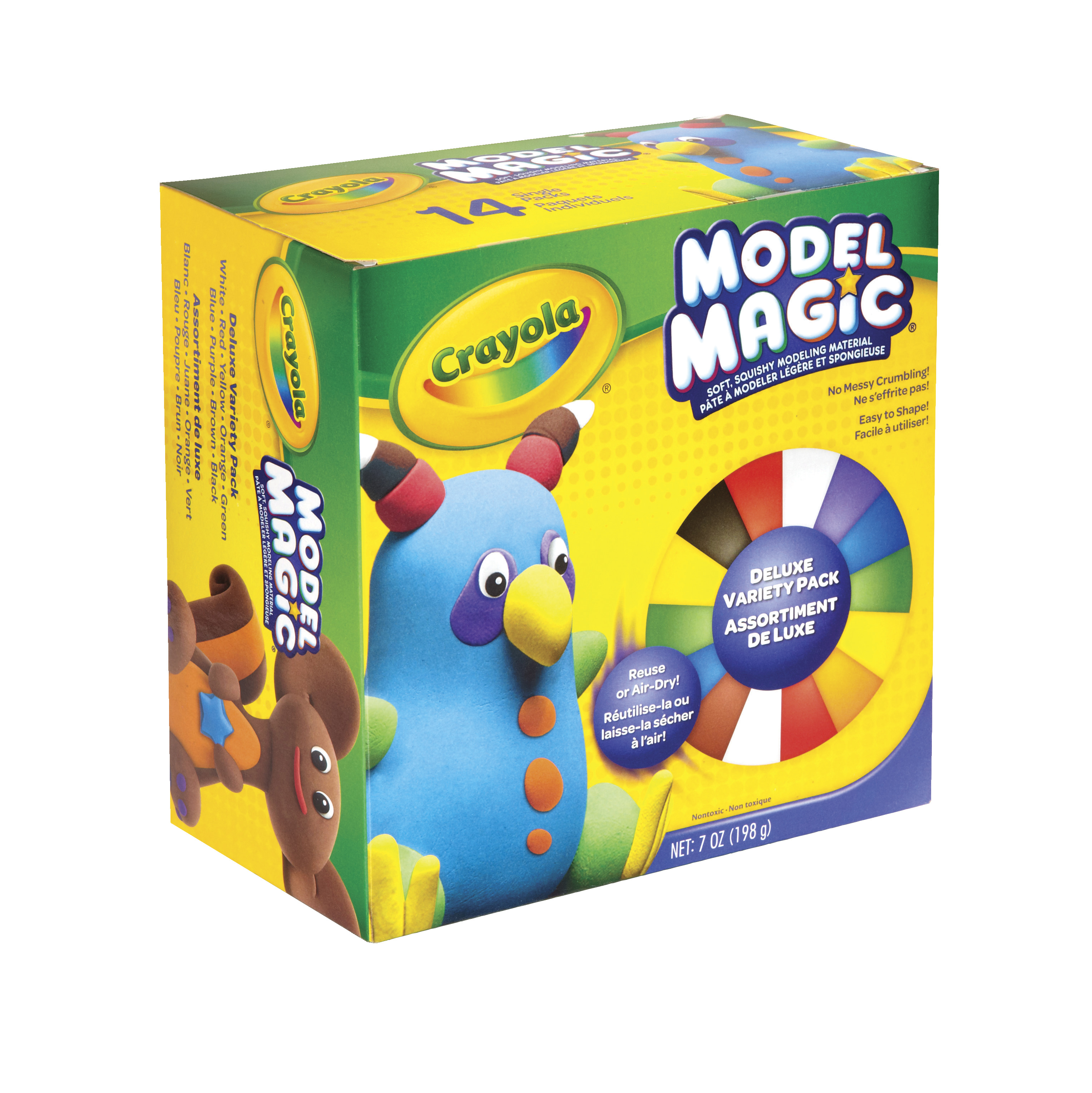 Crayola Model Magic Non-Toxic Modeling Dough Deluxe Variety Pack, 7 oz, Assorted Color, Pack of 14