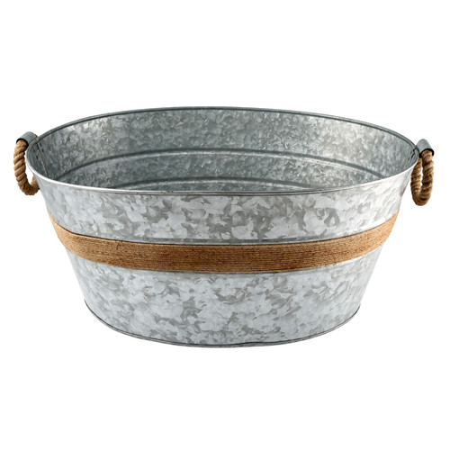 Cambridge Shiloh Galvanized and Rope Beverage Tub