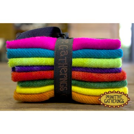 Hand Dyed Wool Felt (Primitive Gatherings - Vibrant Hand Dyed Wool - Charm Pack)