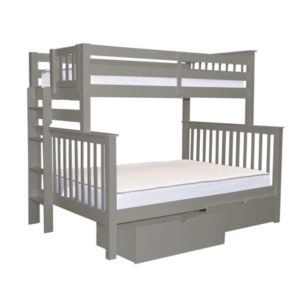 Bedz King Bunk Beds Twin Over Full Mission Style With End Ladder And