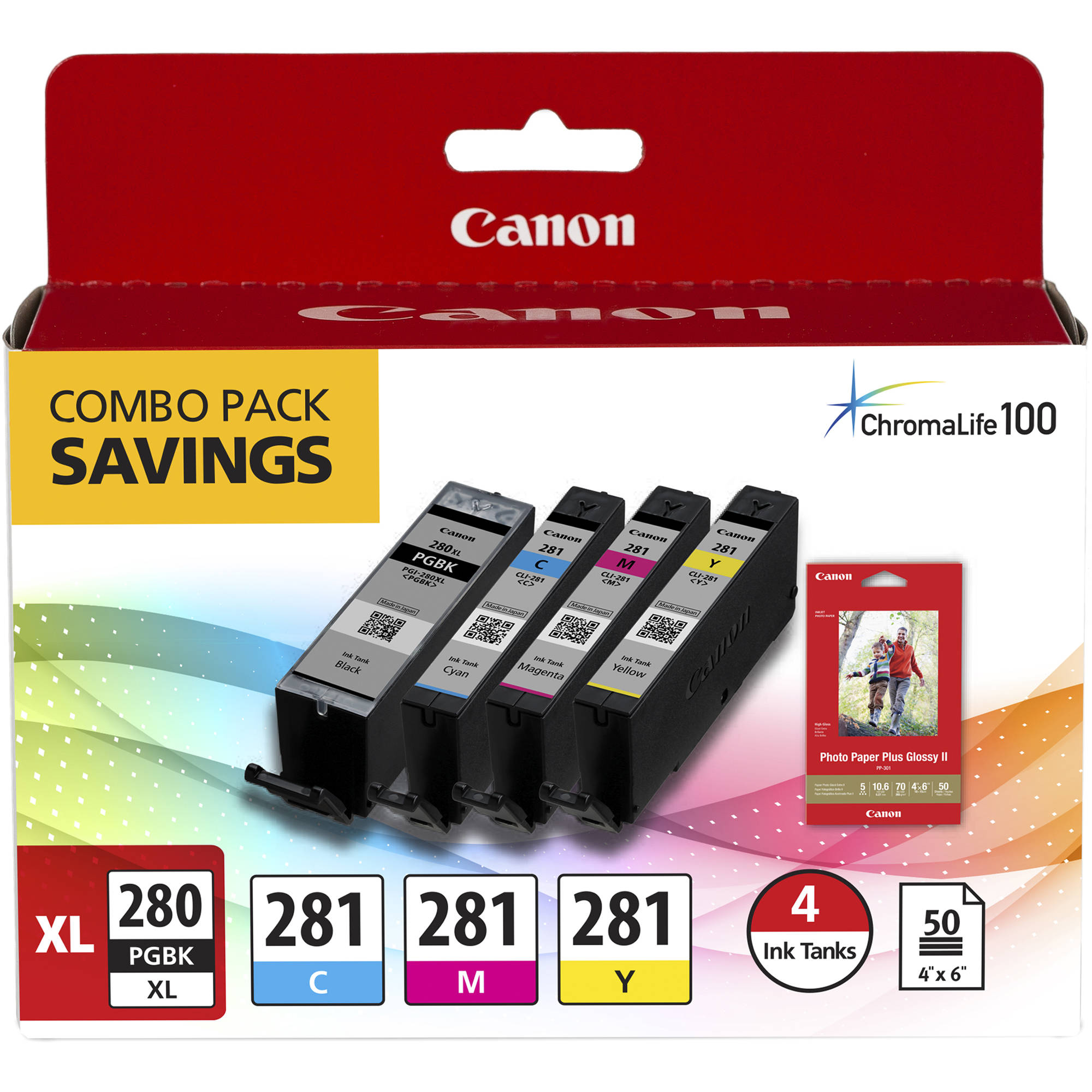 "Canon PGI-280 XL / CLI-281 Combo Ink Pack with Glossy Photo Paper (50 Sheets, 4""x6"")"