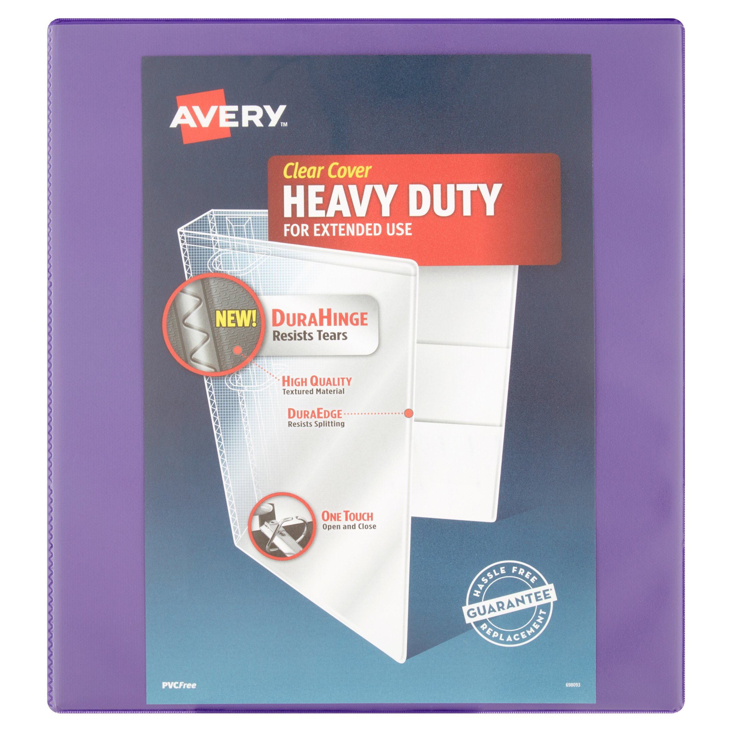 "Avery(R) Heavy-Duty Binder, 1"" One Touch Rings, 250-Sheet Capacity, DuraHinge(TM), Purple, 79241"