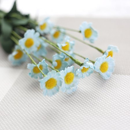 Mosunx Artificial Silk Fake Flowers Small Daisy Wedding Bouquet Party Home Decor Blue