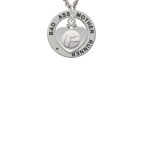 Volleyball in Heart Bad Ass Mother Runner Affirmation Ring Necklace