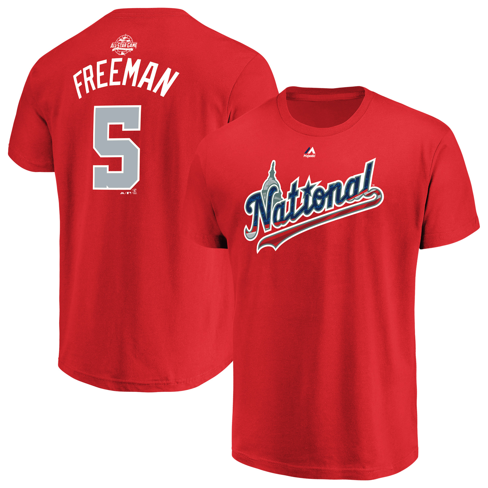 Freddie Freeman National League Majestic 2018 MLB All-Star Game Name & Number T-Shirt - Red