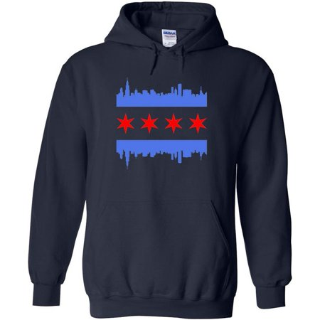 Chicago Flag Skyline Applique Sweatshirt Pullover