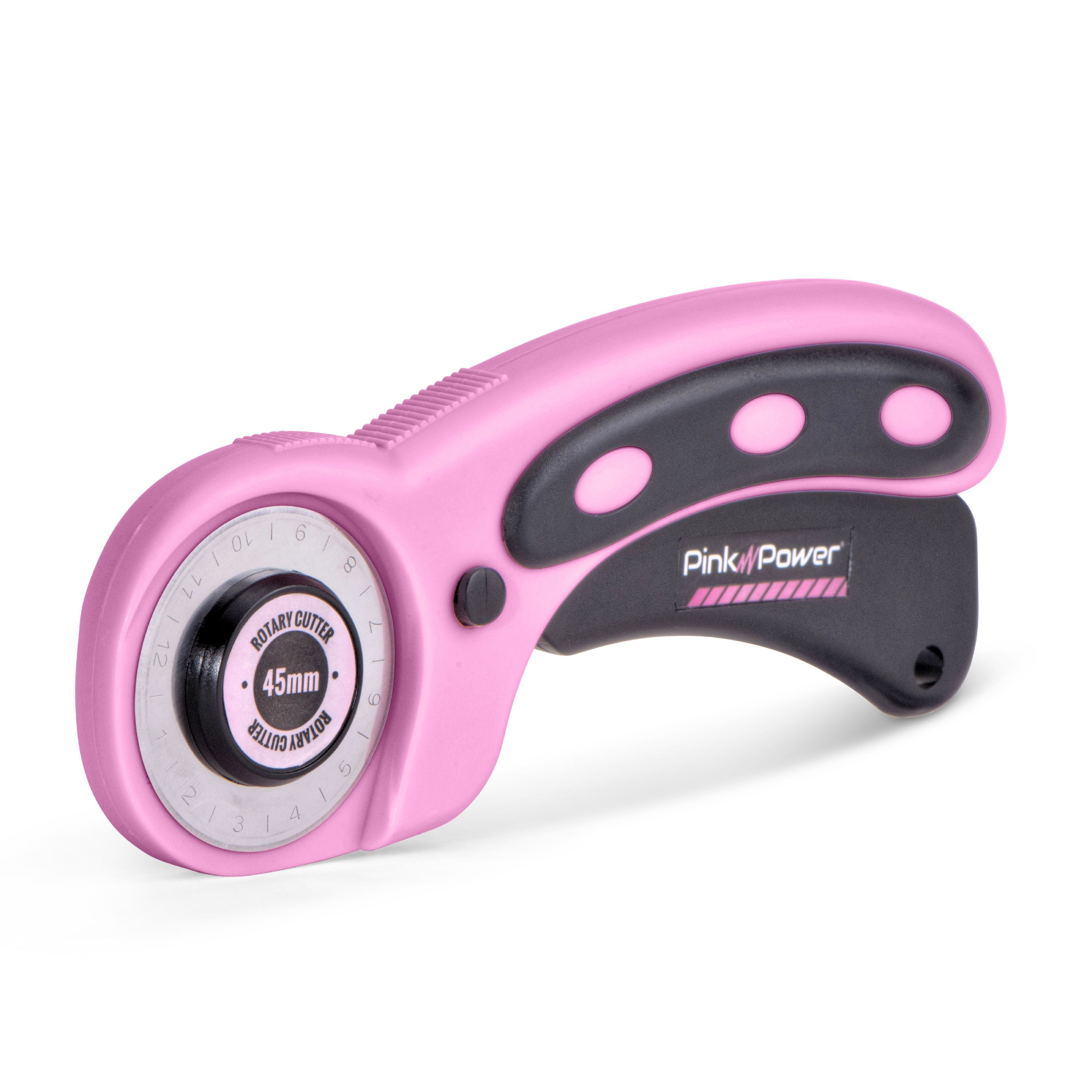 Pink Power 45mm Rotary Cutter for Fabric, Scrapbooking, Quilting and Sewing