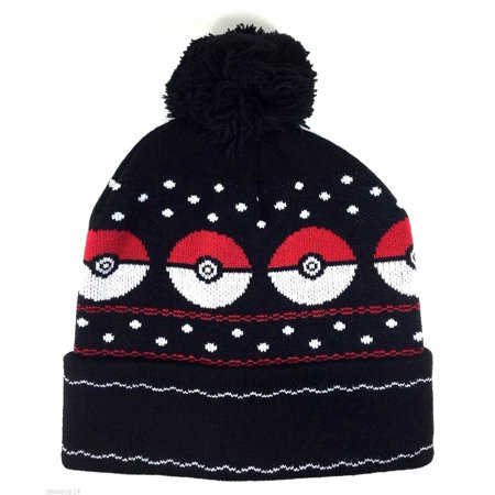 0e259175cc57a Nintendo Pokemon Pokeball Licensed Beanie Hat Adult Children Black Tuque -  image 1 of 1 ...