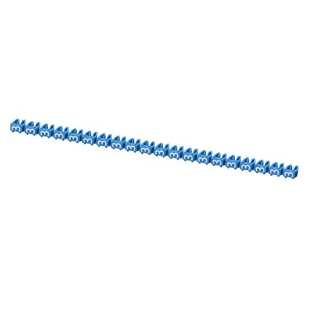 Unique Bargains 20 Pcs Digit 3 Network Cable Labels Markers Blue for 4.0-6.0mm Dia Cable - image 1 of 3