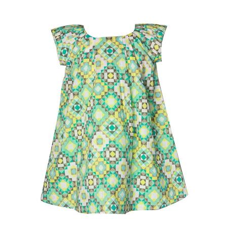 Richie House Girls Green Geometric Art Deco Dress 8 - Green Girl Dresses