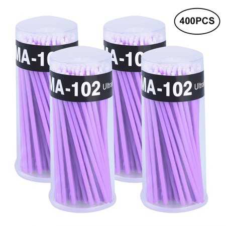 Pretty See Disposable Micro Applicator Brushes Makeup Microbrush Eyeliner Applicator, Suitable for Eyelash Extension Removal, Makeup Removal, Nail Art and Painting, Set of 400, Dark Purple - Pretty Halloween Makeup Purple