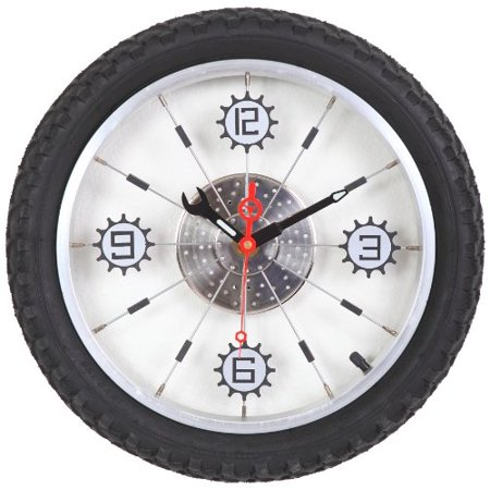 Maple's Aluminum Bicycle Wheel with Rubber Tire Wall Clock, Black Bicycle Double Bubble Clock
