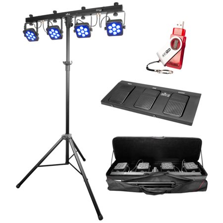 Chauvet DJ 4BARTRIUSB 4 BAR TRI USB LED Wash FX Light Fixture W/Stand+Pedal+Bag