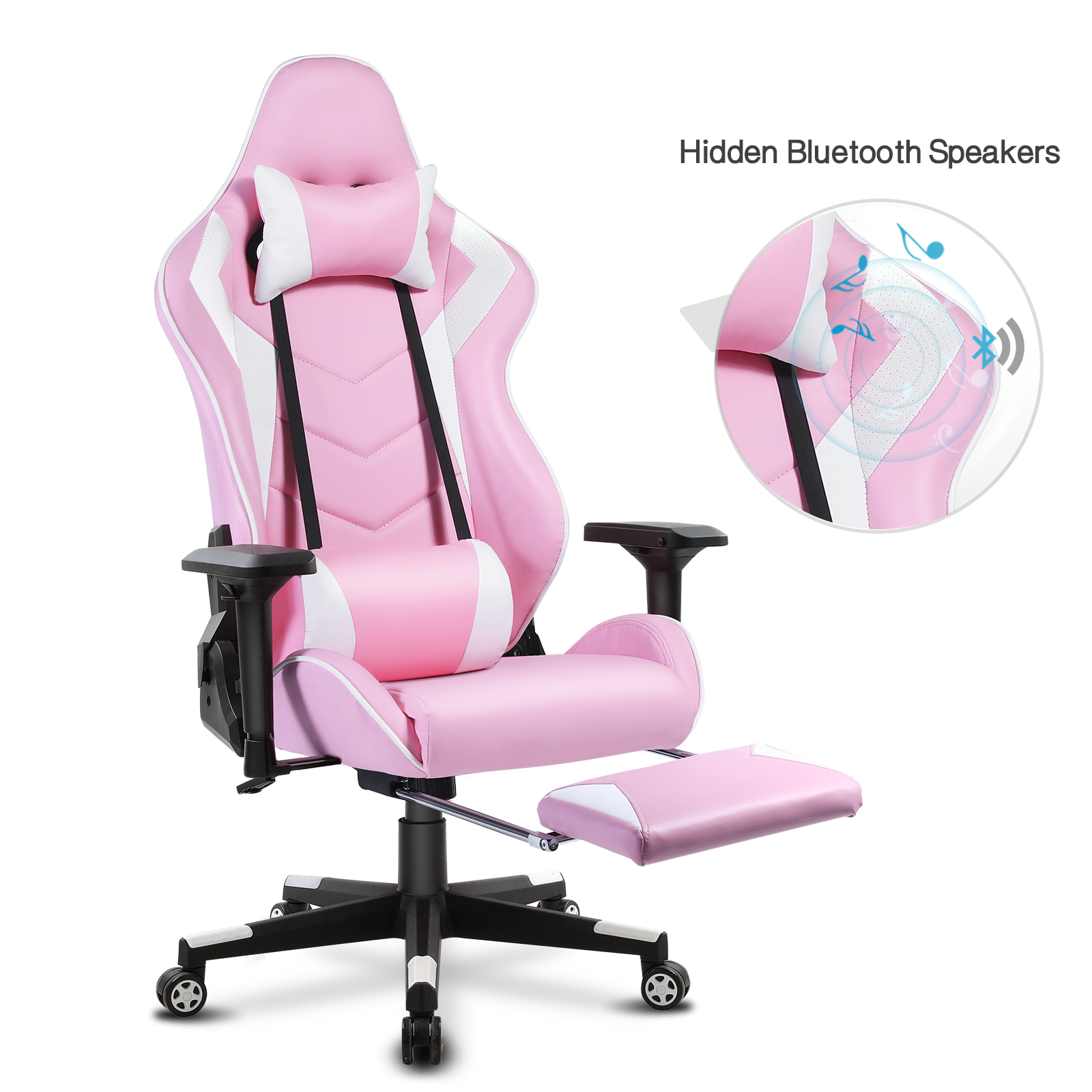 Racing Gaming Chair with Bluetooth Speakers and Footrest, Swivel