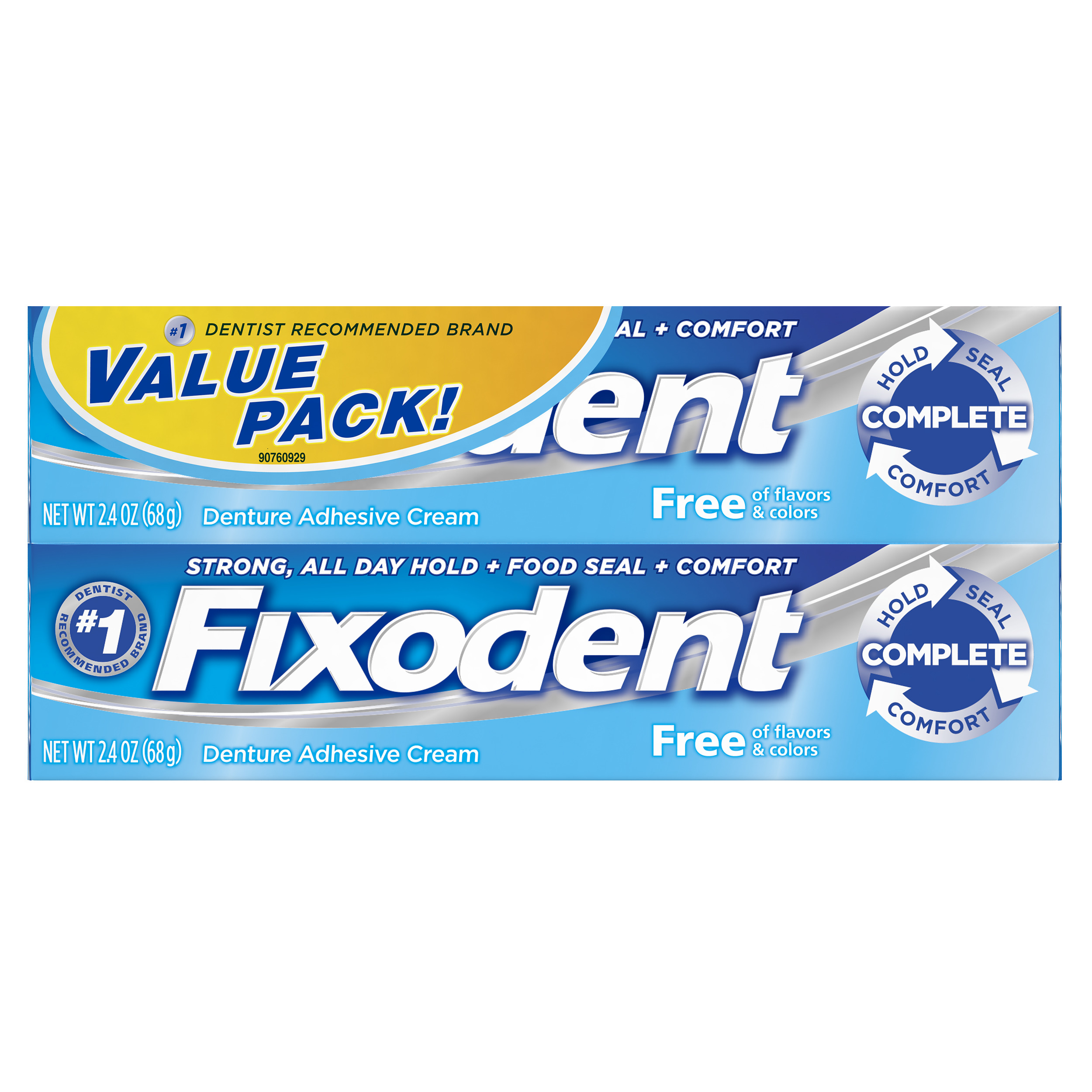 Fixodent Complete Free Denture Adhesive Cream, 2.4 oz TWIN